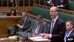 英國外相藍韜文在國會下議院發表聲明立即暫停與香港的引渡條約。 (2020年7月20日)