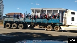 Vehicles, some of them allegedly seized from schools, ferrying Zanu PF supporters to the million man march.
