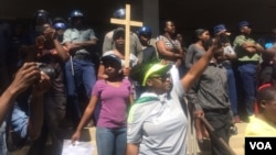 Some of the protesters in Harare on Wednesday