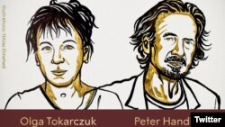 Penulis Polandia Olga Tokarczuk dan penulis Austria Peter Handke meraih penghargaan kesusasteraan 2019. (Ilustrator: Niklas Elmehed)