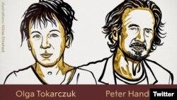 Illustration de l'écrivaine polonaise Olga Tokarczuk, Nobel de littérature 2018, et l'Autrichien Peter Handke, Nobel 2019.