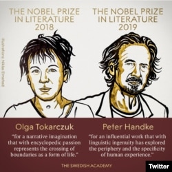 Austria's Peter Handke won the 2019 Nobel Prize for Literature, and the postponed 2018 award went to Polish author Olga Tokarczuk, the Swedish Academy said on Thursday. October 10, 2019