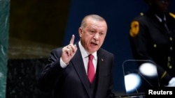 Реджеп Тайип Эрдоган выступает на заседании Генассамблеи ООН, 24 сентября 2019 года