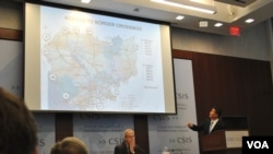"Cambodia's commerce minister Sun Chanthol shows a map of Cambodia road network with neighboring countries during a presentation on ""Economic Reforms in Cambodia"" at the Center for Strategic and International Studies (CSIS) in Washington D.C, Monday."