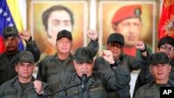 Umushikiranganji wa Venezuela ajejwe kwivuna abansi, Vladimir Padrino Lopez, mu kiganiro n'abamenyeshamakuru i Caracas, Venezuela, itariki 19/02/2019.