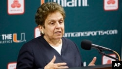 FILE - Donna Shalala speaks during a news conference in Coral Gables, Fla., April 19, 2011. She was a former Cabinet secretary during the Bill Clinton presidency, now heads the Clinton Foundation.