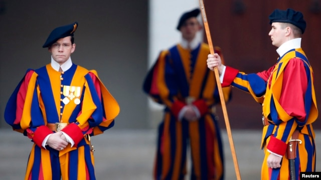 Swiss guards stand at the entrance of papal summer residence in Castel Gandolfo, Feb. 28, 2013.