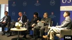 美日學者2019年3月8日在美國-日本研究所討論如何應對台海衝突(美國之音鐘辰芳拍攝)