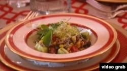 白宮孩童國宴的健康沙拉 (視頻截圖)