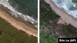 In this photo combo provided by Eric Lo, shows the shoreline in Manati, on Aug. 2017, left, before hurricane Maria and on Nov. 2017, after Hurricane Maria, in Puerto Rico. (Eric Lo via AP)
