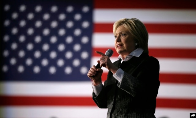 Democratic presidential candidate, Hillary Clinton speaks during a rally at the Charles H. Wright Museum of African American History in Detroit, Michigan,Monday, March 7, 2016.