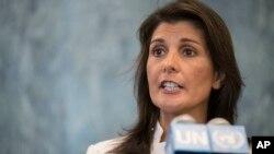 """Nikki Haley, embajadora de EE.UU. ante la ONU, pidió a Michelle Bachelet alzar la voz por """"los abusos extremos contra los derechos humanos en el Hemisferio Occidental, en particular en Venezuela y Cuba""""."""