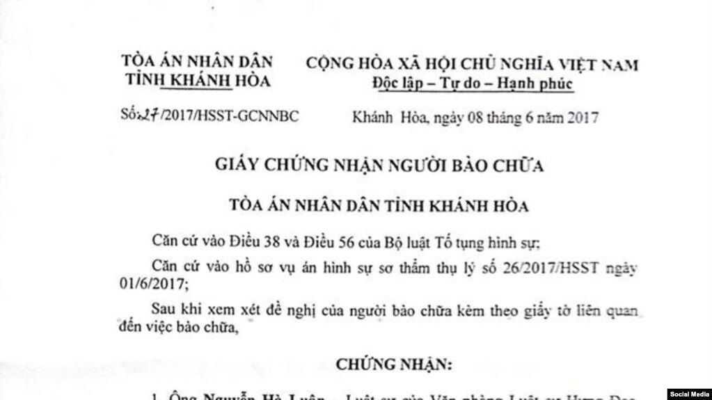 Giấy chứng nhận Người bào chữa do Tòa án tỉnh Khánh Hòa cấp cho Luật sư Nguyễn Hà Luân, (Facebook Nguyễn Hà Luân)