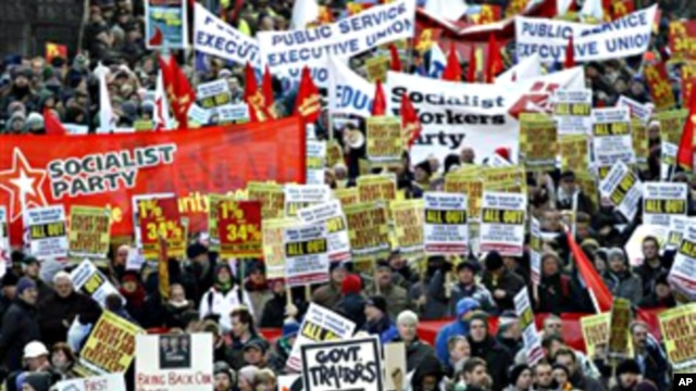 Thousands of protesters parade through Central Dublin against the Republic's four-year austerity plan, Ireland, 27 Nov. 2010