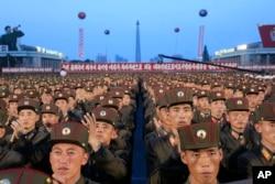 지난달 6일 북한 평양에서 대륙간탄도미사일 '화성-14'의 시험발사 성공을 경축하는 평양시군민연환대회가 열렸다.