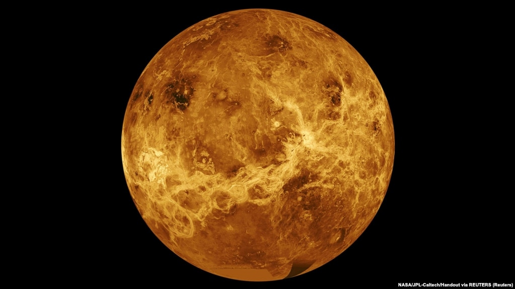 Data from NASA's Magellan spacecraft and Pioneer Venus Orbiter is used in an undated composite image of the planet Venus.