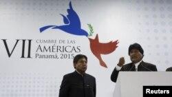 Evo Morales y David Coquehuanca durante la Cumbre de las Américas.