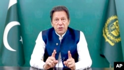 In this image taken from video provided by UN Web TV, Imran Khan, prime inister of Pakistan, remotely addresses the United Nations General Assembly in a pre-recorded message, Sept. 24, 2021, at UN headquarters.