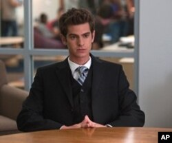 "Andrew Garfield in Columbia Pictures' ""The Social Network,"" also starring Jesse Eisenberg and Justin Timberlake."