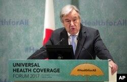 FILE - U.N. Secretary-General Antonio Guterres delivers a speech in Tokyo, Dec. 14, 2017.