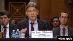 美國助理國務卿湯姆•馬利諾夫斯基在聽證會上發言 (VOA 視頻截圖)