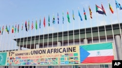The flags of African Union countries wave in the wind on June 29, 2011, at Malabo international airport on the eve of African Union's 17th summit in Sipopo City,Equatorial Guinea