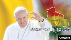 Poster del papa conmemorativo de la visita a Bolivia.