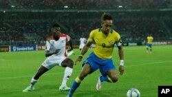 Le Gabonais Pierre Aubameyang en Guinée Equatoriale lors de la Coupe d'Afrique des Nations, le 17 janvier 2015