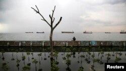 Seorang warga duduk di atas dinding laut saat memancing di pelabuhan Muara Baru, Jakarta. (Foto: Dok)
