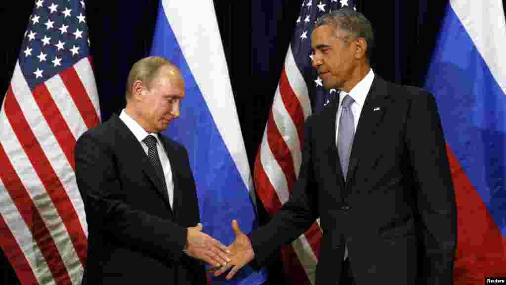 Shugaba Obama Ya Hadu Da Shugaban Kasar Rasha Vladimir Putin A Taron Majalisar Dinkin Duniya Da Ake Gudanarwa A Birnin New York, Satumba 29, 2015.
