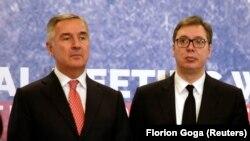 Predsednik Crne Gore Milo Đukanović i predsednik Srbije Aleksandar Vučić na samitu u Tirani 2019.