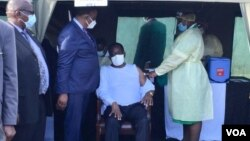 FILE: President Mnangagwa receiving his first dose of COVID-19 vaccine in Victoria Falls.