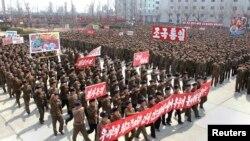 지난 3일 북한 남포에서 미국과 한국을 규탄하는 궐기대회가 열렸다.