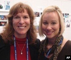 George Washington University Professor Lisa Delpy Neirotti and student Morgan Goerke at the Vancouver Winter Olympics, 26 Feb. 2010