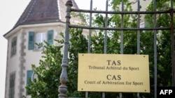 Le siège du tribunal arbitral du sport à Lausanne, Suisse, le 1er mai 2019. (Photo by Fabrice COFFRINI / AFP)