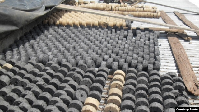 A batch of biomass briquettes on display in Tanzania (courtesy: Legacy Foundation)