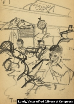 Sketch showing soldiers seated on train bound for New York Harbor.