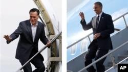 Tổng thống Hoa Kỳ Barack Obama (phải) và ứng cử viên đối thủ thuộc Đảng Cộng hòa Mitt Romney (trái)