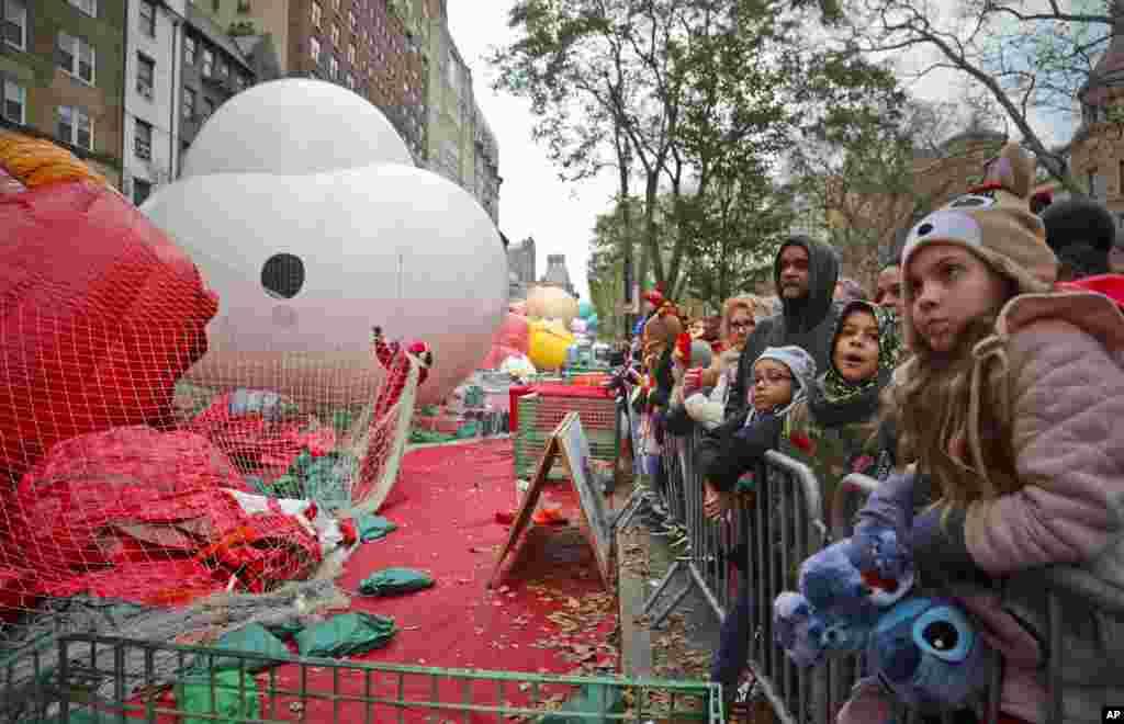 Las multitudes se reúnen para ver globos de personajes gigantes, que se inflan la noche antes de su aparición en el desfile.