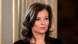 Valerie Trierweiler, companion of France's new President Francois Hollande, attends the investiture ceremony at the Elysee Palace in Paris, May 15, 2012.