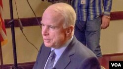 U.S. Senator John McCain is interviewed by Milena Djurdjic of VOA's Serbian service, March 8, 2016.