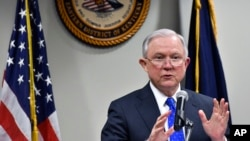 Attorney General Jeff Sessions, speaks to a gathering of law enforcement officials at the United States Attorney's offices, March 15, 2018, in Lexington, Kentucky.