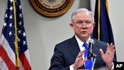 FILE - Attorney General Jeff Sessions, speaks to a gathering of law enforcement officials at the United States Attorney's offices, March 15, 2018, in Lexington, Kentucky