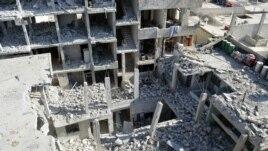 Konstriksyon ki kraze nan konfli siryen an. Se travay aviyasyon militè peyi a kap defann rejim Prezidan Bashar al-Assad la