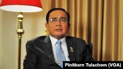 រូបឯកសារ៖ នាយករដ្ឋមន្រ្តីថៃលោក Prayut Chan-o-cha និយាយជាមួយ VOA ភាសាថៃ នៅក្រុងញូវយ៉ក កាលពីថ្ងៃទី២៥ ខែកញ្ញា ឆ្នាំ២០១៩។