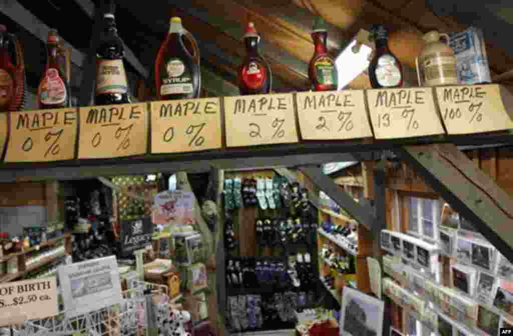 In this Thursday, Oct. 27, 2011 photo, maple products appear on display at Morse Farm Maple Sugarworks in East Montpelier, Vt. To protect the purity of Vermont�s signature crop and to dissuade others from passing off fake maple syrup for the real thing,