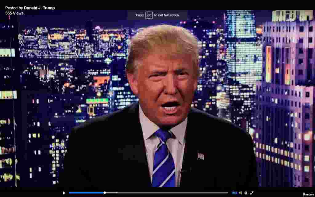 Republican presidential nominee Donald Trump is seen in a video screengrab as he apologizes for lewd comments he made about women during a statement recorded by his presidential campaign and released via social media after midnight Oct. 8, 2016.