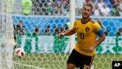 Le Belge Eden Hazard jubile après avoir marqué le deuxième but belge lors de la rencontre entre la Belgique et l'Angleterre pour la 3e place à la Coupe du monde au St Petersburg, Russie, 14 juillet 2018.