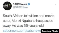Menzi Ngubane has died. (Photo: SABC Twitter)