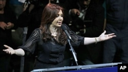 Argentina's current president and presidential candidate Cristina Fernandez de Kirchner speaks during her closing campaign rally in Buenos Aires, October 19, 2011.